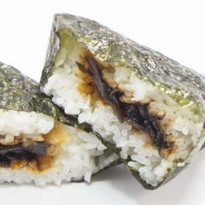 picture: a rice ball with seaweed filling