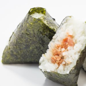 picture: rice balls with salmon filling