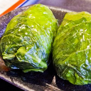 picture: japanese rice balls wrapped with leaf mustard
