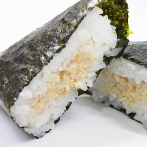 picture: a japanese rice ball with tuna and mayonnaise filling
