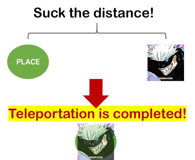 illustration: suck the distance!, teleportation is completed!