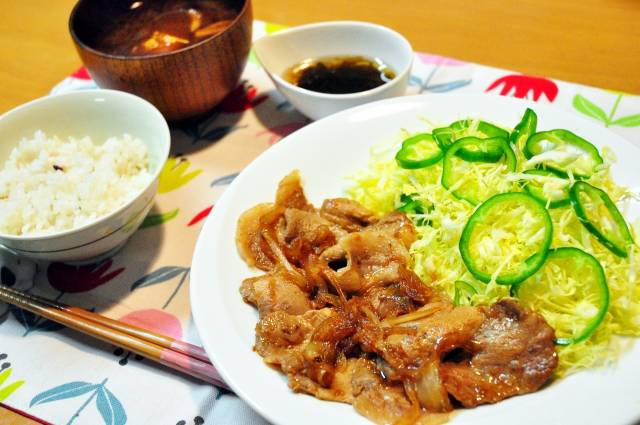picture: a japanese dish syogayaki, grilled pork with ginger taste