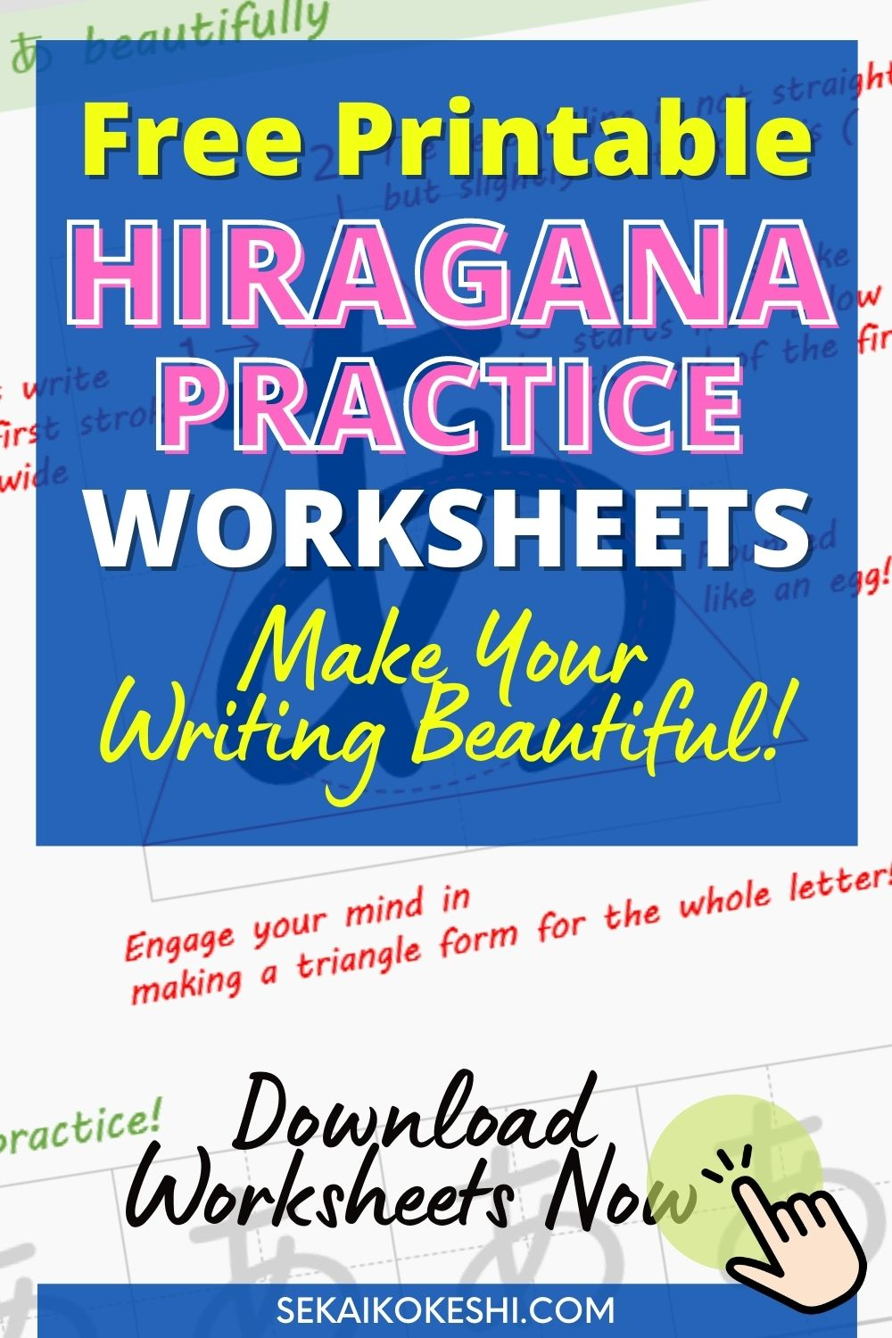 free printable hiragana practice worksheets, make your writing beautiful! download worksheets now, sekaikokeshi.com