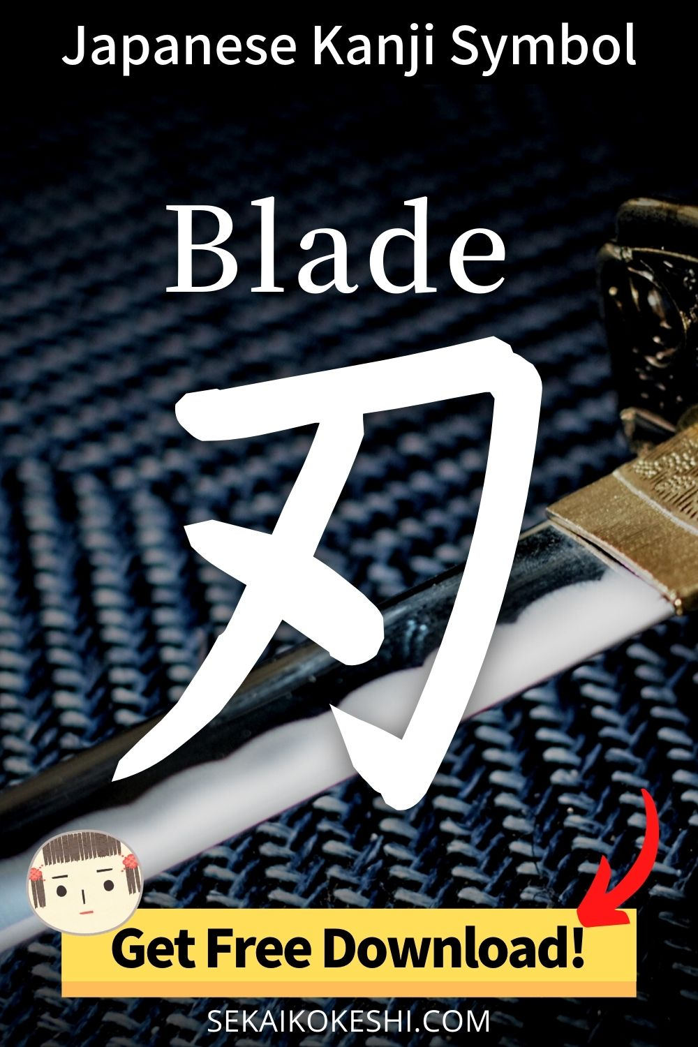 japanese kanji symbol, blade, get free download!